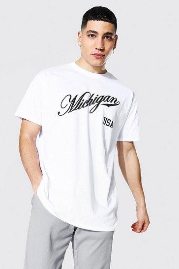 White Oversized Michigan Varsity Printed T-shirt