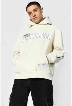 Sand Oversized Varsity Collection Tape Hoodie