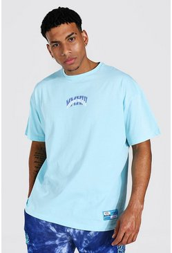 Light blue Oversized Varsity Print T-shirt