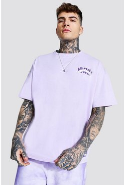 Purple Oversized Varsity Print T-shirt