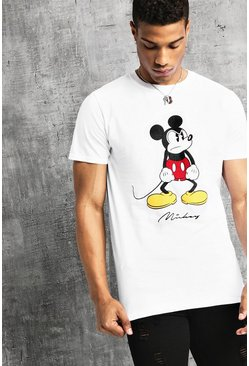 Wit white Disney T-shirt met Angry Mickey-print