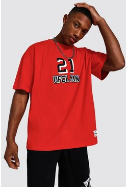 Red Oversized Ofcl Man Varsity T-shirt
