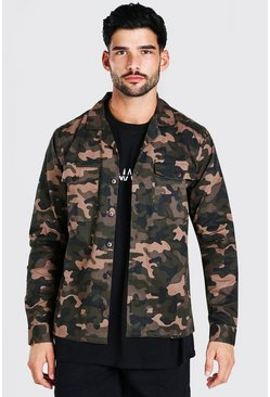 Khaki Camo Twill Utility Button Through Jacket