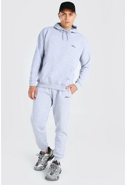 Grey marl MAN Loose Fit Hooded Tracksuit