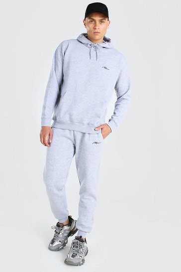 Grey marl grey MAN Loose Fit Hooded Tracksuit
