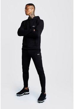 Black Man Muscle Fit Hooded Bungee Cords Tracksuit