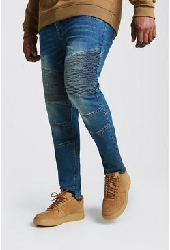Mid blue blue Plus Size Skinny Fit Worn Biker Jeans