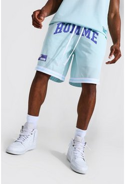 Light blue blue Basketball Homme Mesh Tape Shorts