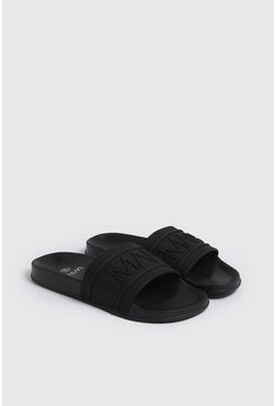 Zwart black MAN Dash Slipper met reliëf