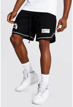 Black svart Worldwide Basketshorts i mesh med kantband