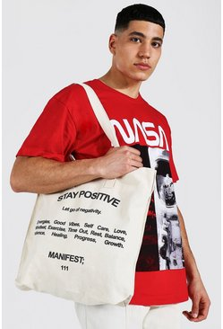 Ecru white Stay Positive Tote Bag