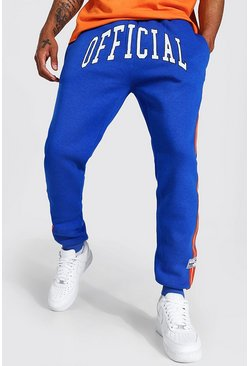Blue Regular Fit Official Varsity Stripe Jogger