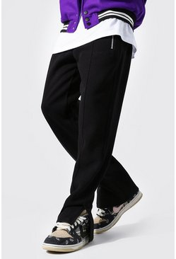 Black Relaxed Official Man Jogger With Split Hem