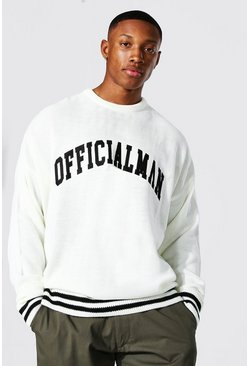 Ecru white Embroidered Varsity Sweater With Striped Rib