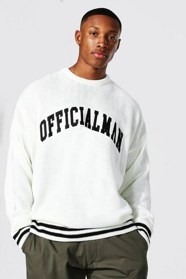 Ecru white Embroidered Varsity Jumper With Striped Rib