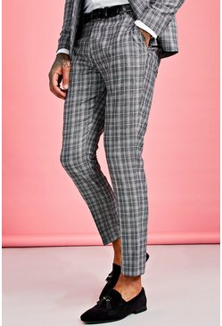 Grey Skinny Fit Jaspe Check Suit Trouser