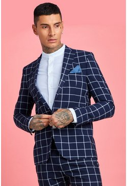 Navy Skinny Large Scale Windowpane Check Suit Jacket