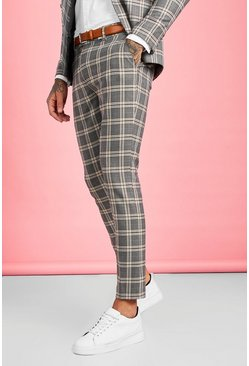 Brown Heritage Check Skinny Fit Suit Trouser