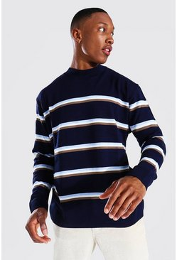 Navy Oversized Extended Neck Duo Stripe Sweater