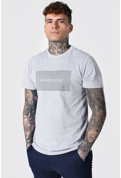 Grey marl grey Slim Fit Official Man Reflective Box T-shirt