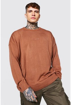 Rust orange Oversized Ofcl Man Tonal Embroidered Sweater