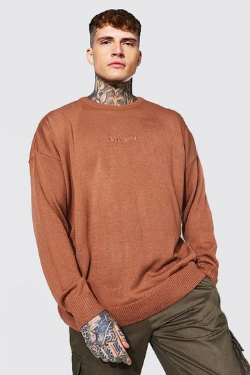 Rust orange Oversized Ofcl Man Tonal Embroidered Jumper