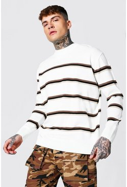 Ecru white Oversized Extended Neck Duo Stripe Sweater