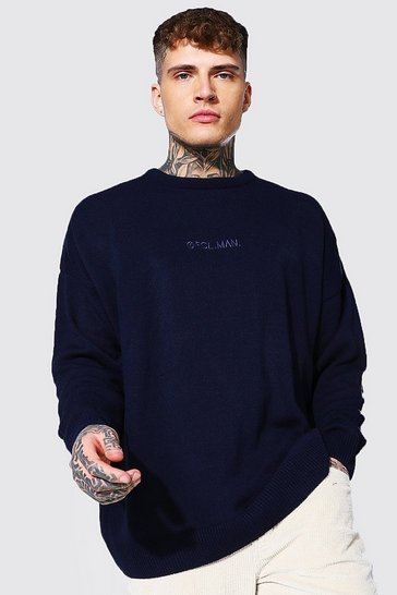 Navy Oversized Ofcl Man Tonal Embroidered Jumper