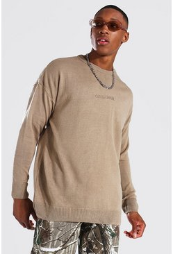 Taupe beige Oversized Ofcl Man Tonal Embroidered Sweater
