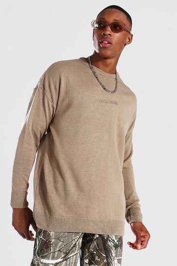 Taupe beige Oversized Ofcl Man Tonal Embroidered Jumper