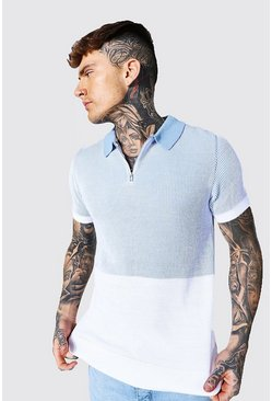 Dusty blue blue Spliced Knitted Polo