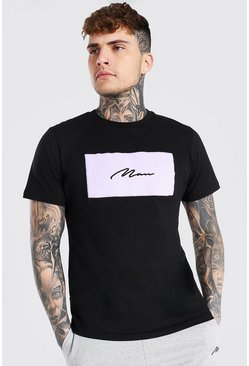 Black Slim Fit Man Signature Velour Box T-shirt
