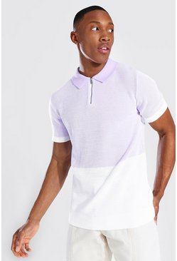 Lilac purple Spliced Knitted Polo