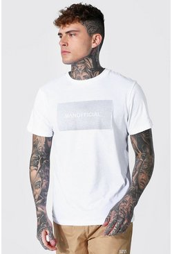 White Slim Fit Official Man Reflective Box T-shirt