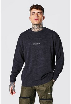 Charcoal grey Oversized Ofcl Man Tonal Embroidered Sweater
