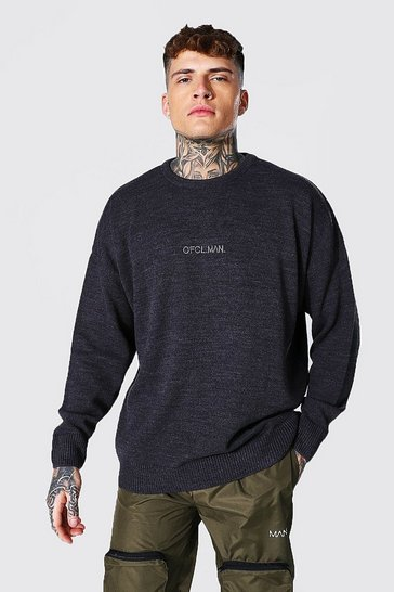 Charcoal grey Oversized Ofcl Man Tonal Embroidered Jumper