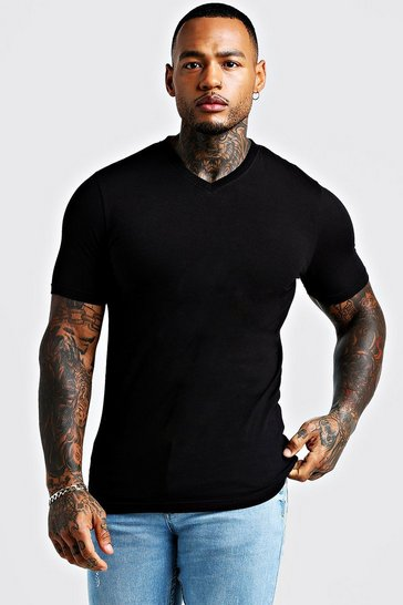 Black Basic Muscle Fit V Neck T-Shirt