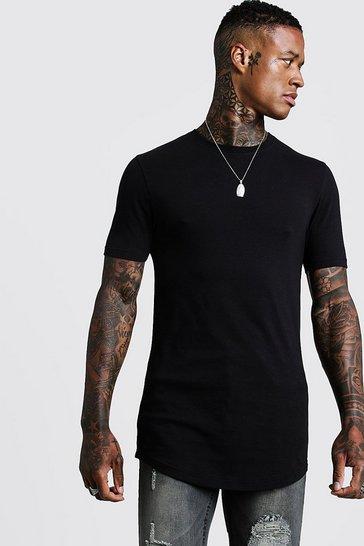 Black Basic Muscle Longline Curved Hem T-Shirt