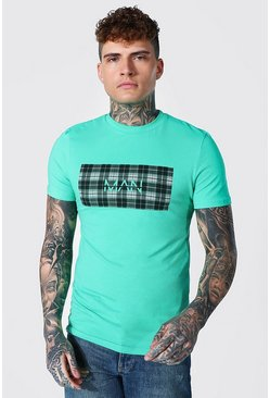Green Muscle Fit Original Man Check Box T-shirt