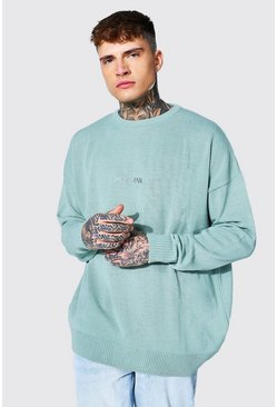 Sage green Oversized Ofcl Man Tonal Embroidered Sweater