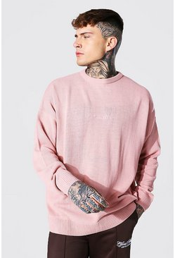 Pale pink pink Oversized Ofcl Man Tonal Embroidered Jumper
