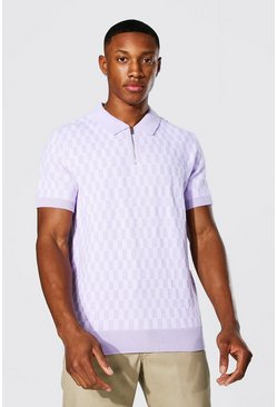 Lilac purple Checkerboard Knitted Polo