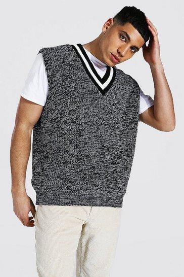 Grey Contrast Rib Twist Yarn Vest