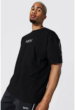 Black Oversized Original Man Sports Tape T-shirt