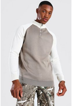Stone beige Funnel Neck Raglan Colourblock Knitted Jumper