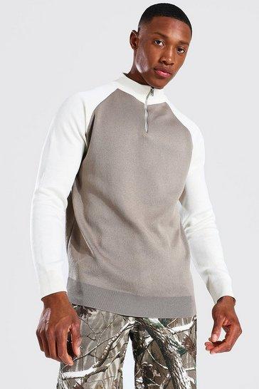 Stone beige Funnel Neck Raglan Colourblock Knitted Jumper