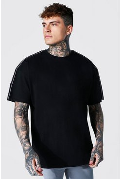 Black Oversized Worldwide Tape Sleeve T-shirt