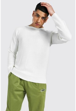 Ecru white Mixed Knit Crew Neck Jumper