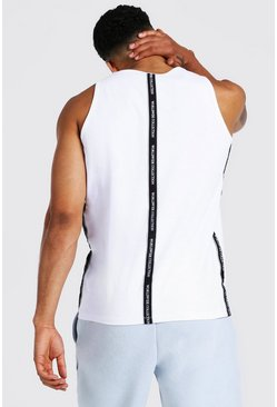 White Worldwide Tape Racer Back Tank