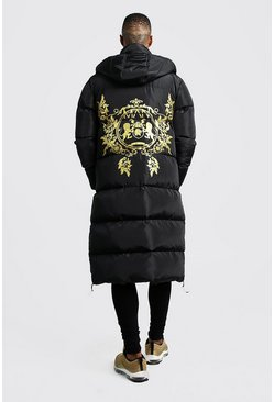 Black MAN Baroque Back Print Longline Puffer